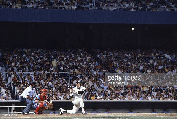 New York Yankees Reggie Jackson in action at bat vs Kansas City Royals Bronx NY 7/18/1980 CREDIT Walter Iooss Jr