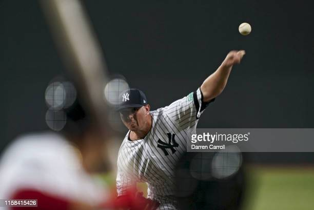 New York Yankees Zack Britton in action pitching vs Boston Red Sox at London Stadium London Series London England 6/29/2019 CREDIT Darren Carroll