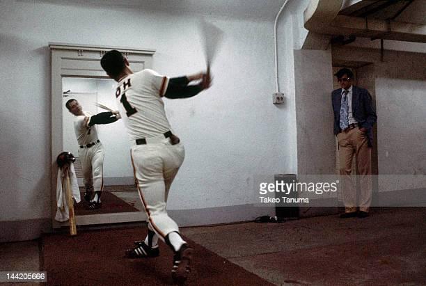 Nippon Professional Baseball Tokyo Giants Sadaharu Oh practicing swing in front of mirror Tokyo Japan 6/4/1977 CREDIT Takeo Tanuma
