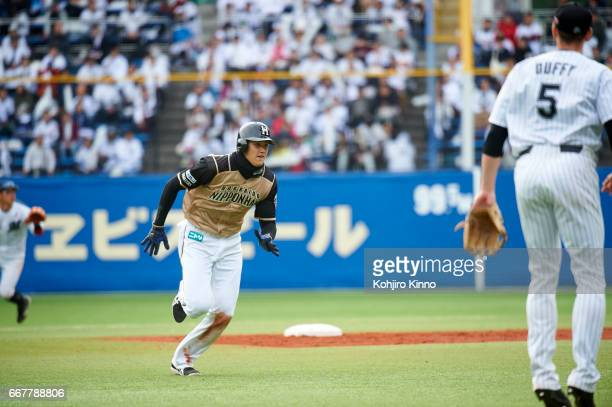 NipponHam Fighters Shohei Ohtani in action running bases vs Chiba Lotte Marines at Chiba Marine Stadium Otani is the reigning league MVP excelling as...