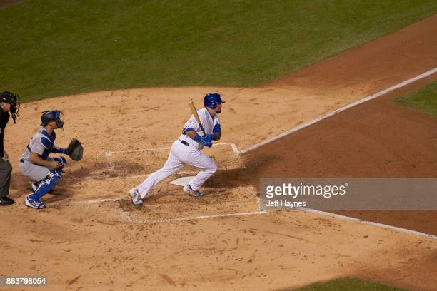 NLCS Playoffs Aerial view of Chicago Cubs Kyle Schwarber in action at bat vs Los Angeles Dodgers at Wrigley Field Game 3 Chicago IL CREDIT Jeff Haynes