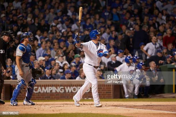 NLCS Playoffs Chicago Cubs Kyle Schwarber in action at bat hitting home run vs Los Angeles Dodgers at Wrigley Field Game 3 Chicago IL CREDIT Jeff...