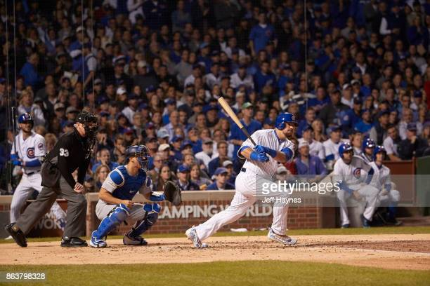 NLCS Playoffs Chicago Cubs Kyle Schwarber in action at bat vs Los Angeles Dodgers at Wrigley Field Game 3 Chicago IL CREDIT Jeff Haynes