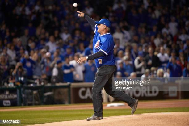 NLCS Playoffs Former Chicago Cubs player Ryne Sandberg throwing out ceremonial first pitch before game vs Los Angeles Dodgers at Wrigley Field Game 4...