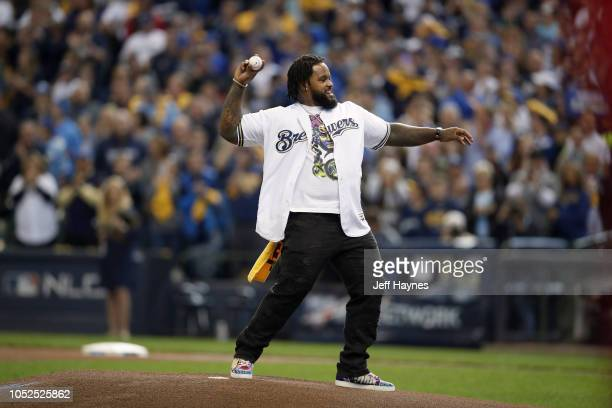 NLCS Playoffs Former Milwaukee Brewers Prince Fielder throwing first pitch vs Los Angeles Dodgers during Game 2 at Miller Park Milwaukee WI CREDIT...