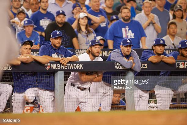 NLCS Playoffs Los Angeles Dodgers Clayton Kershaw in dugout with teammates during game vs Chicago Cubs at Dodger Stadium Game 2 Los Angeles CA CREDIT...