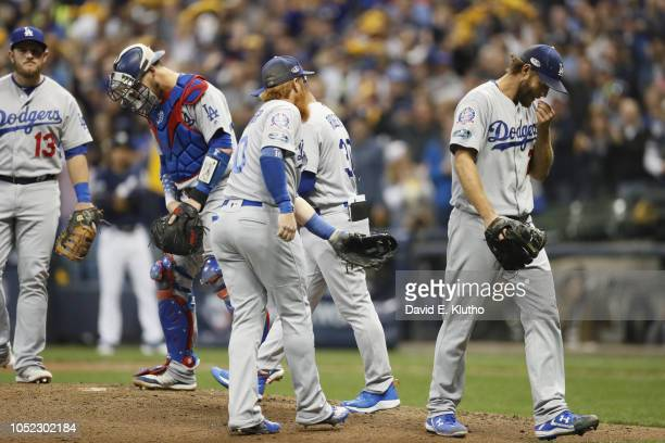 Los Angeles Dodgers Clayton Kershaw walking off mound after being removed from game vs Milwaukee Brewers at Miller Park Game 1 Milwaukee WI CREDIT...