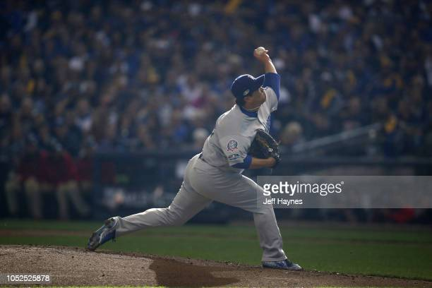 NLCS Playoffs Los Angeles Dodgers HyunJin Ryu in action pitching vs Milwaukee Brewers during Game 2 at Miller Park Milwaukee WI CREDIT Jeff Haynes