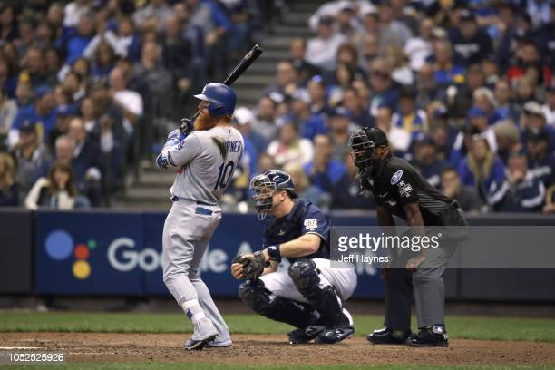 NLCS Playoffs Los Angeles Dodgers Justin Turner in action at bat vs Milwaukee Brewers during Game 2 at Miller Park Milwaukee WI CREDIT Jeff Haynes