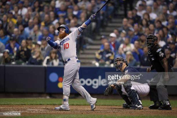 NLCS Playoffs Los Angeles Dodgers Justin Turner in action at bat hitting home run vs Milwaukee Brewers during Game 2 at Miller Park Milwaukee WI...