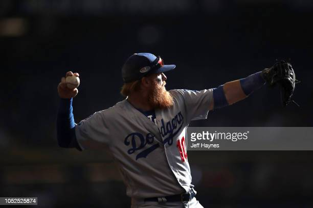 NLCS Playoffs Los Angeles Dodgers Justin Turner in action fielding vs Milwaukee Brewers during Game 2 at Miller Park Milwaukee WI CREDIT Jeff Haynes