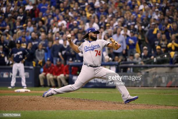 NLCS Playoffs Los Angeles Dodgers Kenley Jansen in action pitching vs Milwaukee Brewers during Game 2 at Miller Park Milwaukee WI CREDIT Jeff Haynes