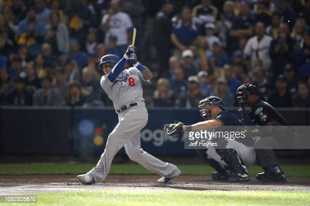 NLCS Playoffs Los Angeles Dodgers Manny Machado in action at bat vs Milwaukee Brewers at Miller Park Game 2 Milwaukee WI CREDIT Jeff Haynes