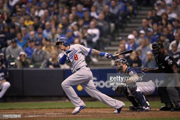 NLCS Playoffs Los Angeles Dodgers Manny Machado in action at bat vs Milwaukee Brewers during Game 2 at Miller Park Milwaukee WI CREDIT Jeff Haynes