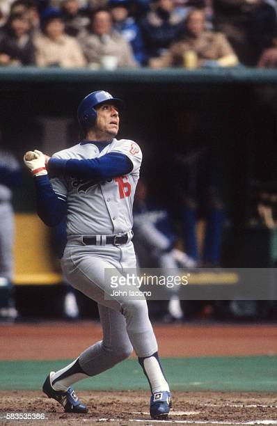 NLCS Playoffs Los Angeles Dodgers Rick Monday in action at bat hitting game winning home run vs Montreal Expos at Olympic Stadium Game 5 Montreal...