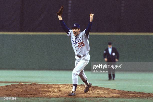 NLCS Playoffs Los Angeles Dodgers Tommy John victorious after winning Game 4 and series vs Philadelphia Phillies Philadelphia PA 10/8/1977 CREDIT...