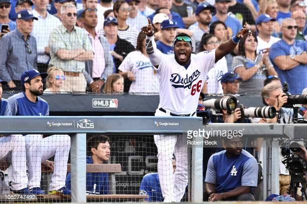 Los Angeles Dodgers Yasiel Puig victorious from dugout during game vs Milwaukee Brewers at Dodger Stadium Game 5 Los Angeles CA CREDIT Robert Beck