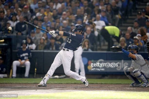 NLCS Playoffs Milwaukee Brewers Christian Yelich in action at bat vs Los Angeles Dodgers during Game 2 at Miller Park Milwaukee WI CREDIT Jeff Haynes
