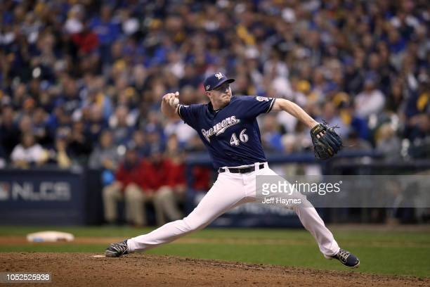 NLCS Playoffs Milwaukee Brewers Corey Knebel in action pitching vs Los Angeles Dodgers during Game 2 at Miller Park Milwaukee WI CREDIT Jeff Haynes