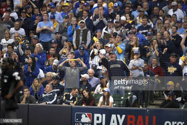 NLCS Playoffs Milwaukee Brewers fans reacting vs Los Angeles Dodgers at Miller Park Game 2 Milwaukee WI CREDIT Jeff Haynes