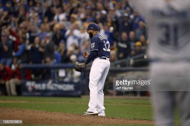 NLCS Playoffs Milwaukee Brewers Jeremy Jeffress victorious pitching vs Los Angeles Dodgers during Game 2 at Miller Park Milwaukee WI CREDIT Jeff...