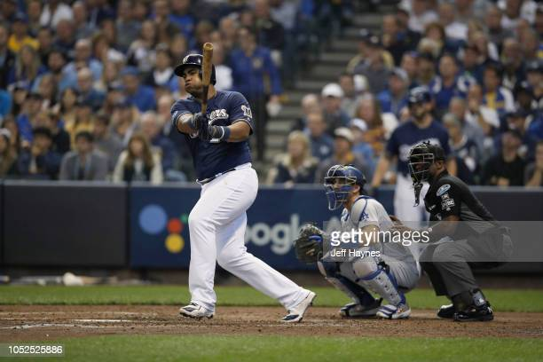 NLCS Playoffs Milwaukee Brewers Jesus Aguilar in action at bat vs Los Angeles Dodgers during Game 2 at Miller Park Milwaukee WI CREDIT Jeff Haynes