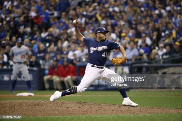 NLCS Playoffs Milwaukee Brewers Junior Guerra in action pitching vs Los Angeles Dodgers during Game 2 at Miller Park Milwaukee WI CREDIT Jeff Haynes