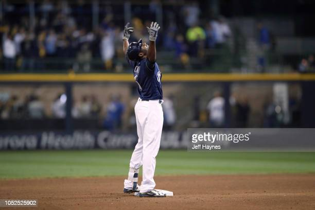 NLCS Playoffs Milwaukee Brewers Lorenzo Cain victorious on second base vs Los Angeles Dodgers during Game 2 at Miller Park Milwaukee WI CREDIT Jeff...