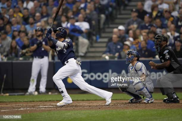 NLCS Playoffs Milwaukee Brewers Orlando Arcia in action hitting home run vs Los Angeles Dodgers during Game 2 at Miller Park Milwaukee WI CREDIT Jeff...