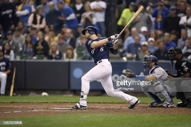 NLCS Playoffs Milwaukee Brewers Ryan Braun in action at bat vs Los Angeles Dodgers during Game 2 at Miller Park Milwaukee WI CREDIT Jeff Haynes