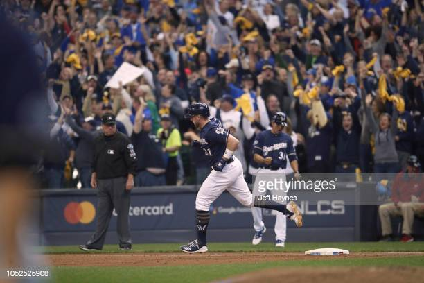 NLCS Playoffs Milwaukee Brewers Travis Shaw in action rounding bases after hitting home run vs Los Angeles Dodgers during Game 2 at Miller Park...