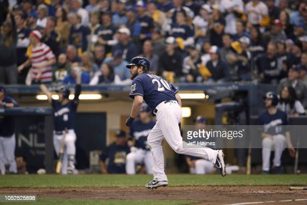NLCS Playoffs Milwaukee Brewers Wade Miley in action at bat vs Los Angeles Dodgers during Game 2 at Miller Park Milwaukee WI CREDIT Jeff Haynes