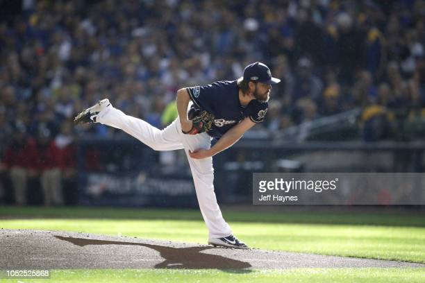 NLCS Playoffs Milwaukee Brewers Wade Miley in action pitching vs Los Angeles Dodgers during Game 2 at Miller Park Milwaukee WI CREDIT Jeff Haynes