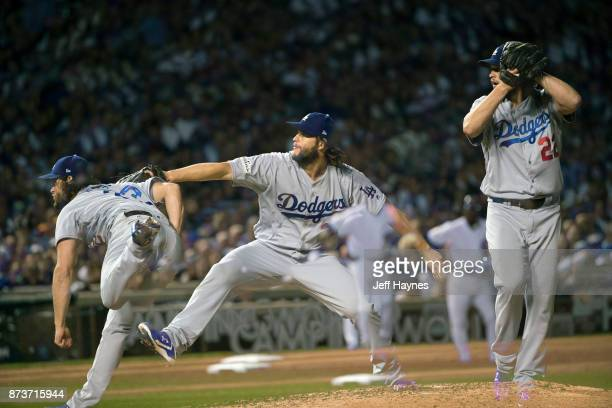 NLCS Playoffs Multiple exposure of Los Angeles Dodgers Clayton Kershaw in action pitching vs Chicago Cubs at Wrigley Field Game 5 Chicago IL CREDIT...