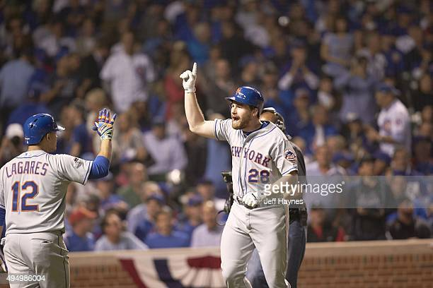 NLCS Playoffs New York Mets Daniel Murphy victorious after hitting home run vs Chicago Cubs at Wrigley Field Game 4 Chicago IL CREDIT Jeff Haynes