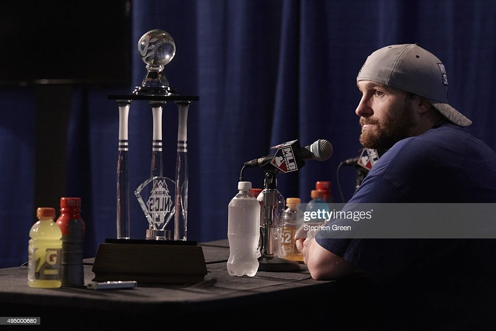 New York Mets Daniel Murphy 28 With NLCS MVP Trophy During Press Conference After