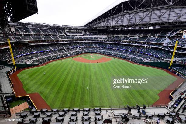 Playoffs: Overall aerial view of Globe Life Field during Atlanta Braves vs Los Angeles Dodgers game. Game 6. Arlington, TX CREDIT: Greg Nelson