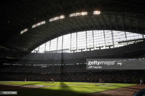 NLCS Playoffs Overview of light coming into stadium and Milwakee Brewers Wade Miley in action pitching vs Los Angeles Dodgers Justin Turner during...