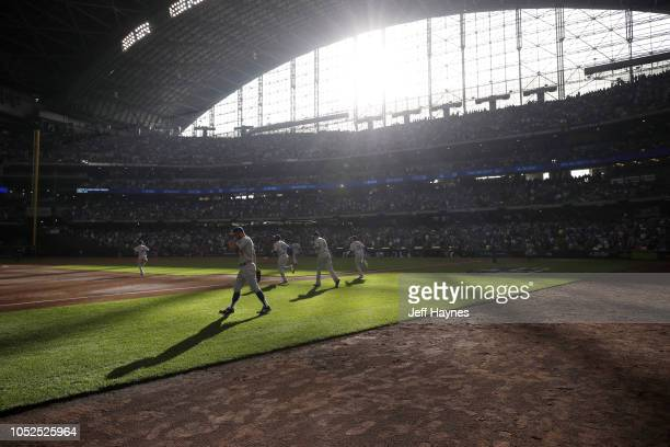 NLCS Playoffs Overview of light coming into stadium as Los Angeles Dodgers take the field during game vs Milwaukee Brewers at Miller Park Game 2...