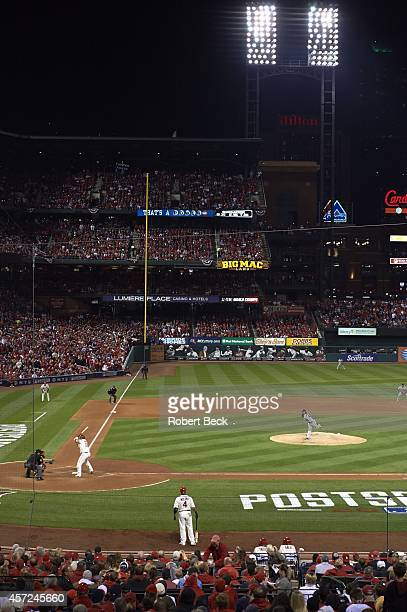 NLCS Playoffs Scenic view of San Francisco Giants Madison Bumgarner in action pitching vs St Louis Cardinals Matt Adams at Busch Stadium Game 1 St...