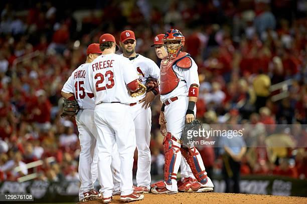 NLCS Playoffs St Louis Cardinals Albert Pujols David Freese Rafael Furcal Yadier Molina and manager Tony La Russa during pitching change vs Milwaukee...