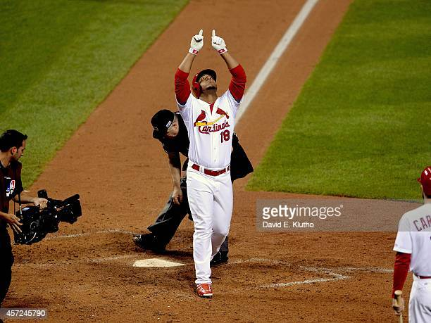 NLCS Playoffs St Louis Cardinals Oscar Taveras victorious after hitting home run vs San Francisco Giants at Busch Stadium Game 2 St Louis MO CREDIT...