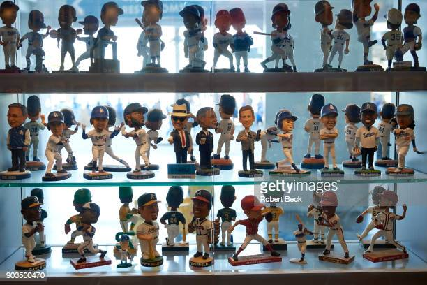 NLCS Playoffs View of various Los Angeles Dodgers and other teams' bobbleheads in showcase before game vs Chicago Cubs at Dodger Stadium Game 2 Los...