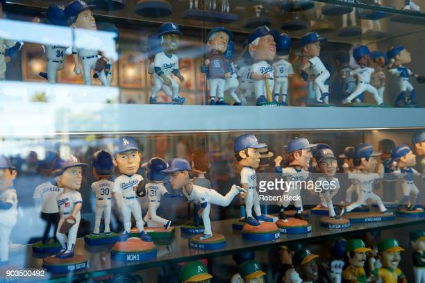 NLCS Playoffs View of various Los Angeles Dodgers bobbleheads in showcase before game vs Chicago Cubs at Dodger Stadium Game 2 Los Angeles CA CREDIT...