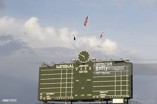 NLCS Playoffs View of Wrigley Field scoreboard before Chicago Cubs vs New York Mets game Game 3 Chicago IL CREDIT Jeff Haynes