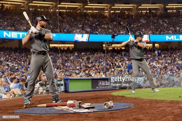 NLDS Playoffs Arizona Diamondbacks Paul Goldschmidt and AJ Pollock on deck during game vs Los Angeles Dodgers at Dodger Stadium Game 1 Los Angeles CA...