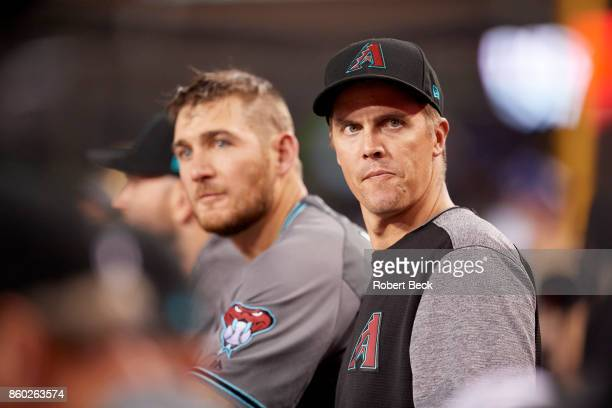 NLDS Playoffs Arizona Diamondbacks Zack Greinke in dugout during game vs Los Angeles Dodgers at Dodger Stadium Game 1 Los Angeles CA CREDIT Robert...