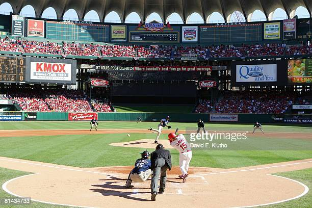 Baseball NLDS Playoffs Rear view of St Louis Cardinals Reggie Sanders in action at bat vs San Diego Padres Scenic view of Busch Stadium during Game 2...