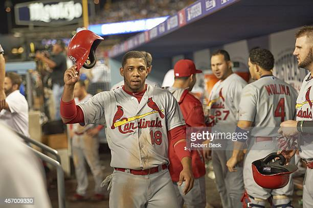 NLDS Playoffs St Louis Cardinals Oscar Tavares victorious in dugout during game vs Los Angeles Dodgers at Dodger Stadium Game 2 Los Angeles CA CREDIT...