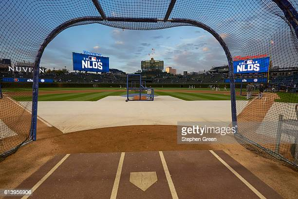NLDS Playoffs View of Wrigley Field from batting cage during batting practice before Chicago Cubs vs San Francisco Giants game Game 1 Chicago IL...